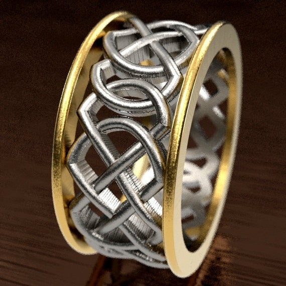 Celtic 2-Tone Wedding Ring With Murphy Infinity Knotwork Design in Silver 10K 14K 18K Gold, Woven Two-Tone Ring Made in Your Size CR-268