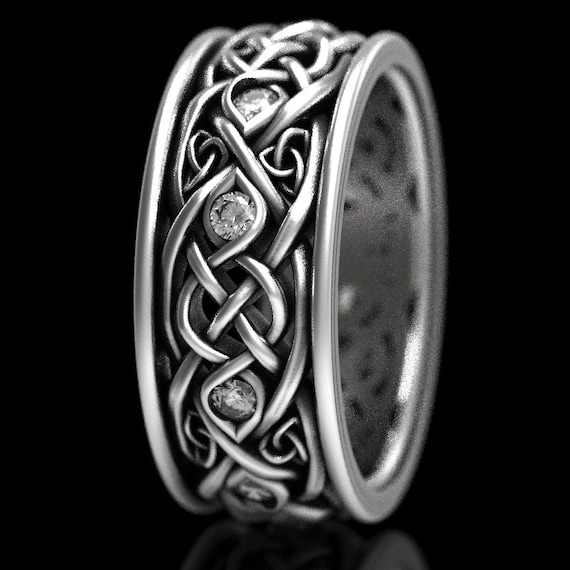 Infinity Wedding Band With Moissanites, 925 Sterling Silver Celtic Ring, Unique Wedding Ring, Celtic Wedding Band, Handcrafted Size CR1096
