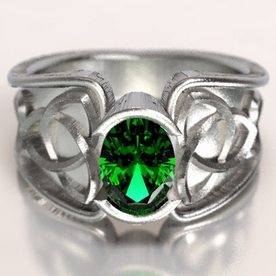 Celtic Emerald Ring With Trinity Knot Band Ring Design in Sterling, 10K 14K 18K Gold, Palladium or Platinum, Made in Your Size CR-17d