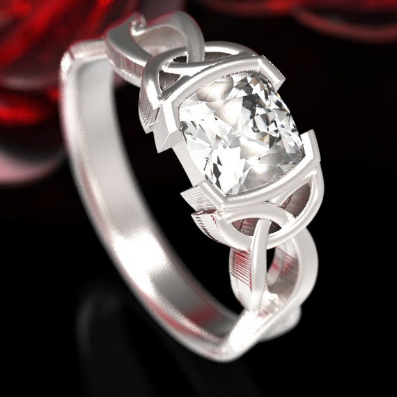 Celtic Moissanite Cushion Cut Engagement Ring With Trinity Knot Design in Sterling Silver, Made in Your Size CR-405sz