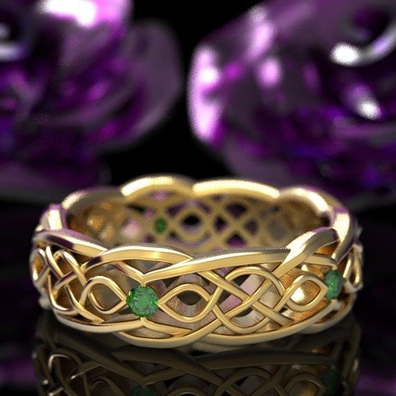 Gold Celtic Wedding Ring With Cut-Through Infinity Symbol Pattern & Emerald Stones in 10K 14K 18K Gold or Platinum Cr-1049