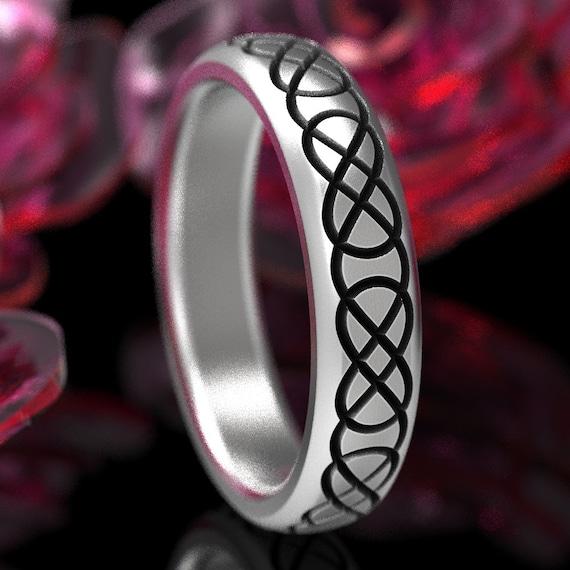 Celtic Wedding Band, Womens Celtic Ring, Engraved Wedding Ring, Celtic Knot Ring, Infinity Knot Ring, Celtic Infinity Ring Sterling Ring 753