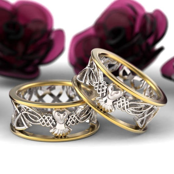 Celtic Wedding Ring Set His and Her, Gold Owl Rings, 2-tone Gold Ring Set, Silver 10K 14K 18K Gold, Palladium Platinum, Barn Owl CR-1016