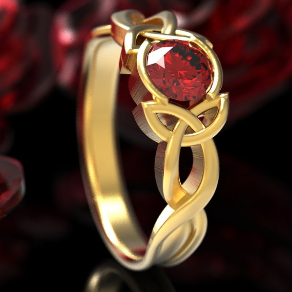 Celtic Ruby Engagement Ring, Celtic Gold Engagement Ring, Celtic Ruby Solitaire Ring, 10K 14K 18K Gold or Platinum Made in Your Size CR-405b