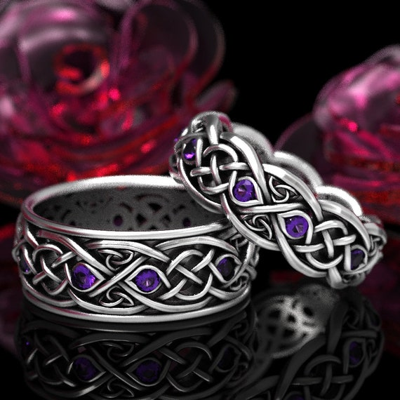 Infinity Wedding Band Set with Amethyst in Sterling Silver, Matching Celtic Wedding Bands, Celti Knot Ring Set Made in Your Size 1052 + 1096