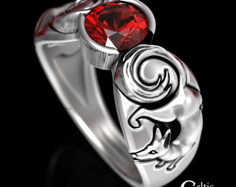 Sterling Fox Engagement Ring, Ruby Engagement Ring, Unique Engagement Ring, Fox Wedding Ring, Silver Kitsune Ring, Ruby Silver Ring, 1482