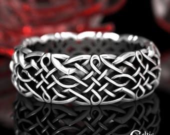 Sterling Celtic Wedding Ring, Infinity Wedding Band, Celtic Silver Ring, Modern Silver Ring, Infinity Wedding Ring, Heart Knot Ring, 1435
