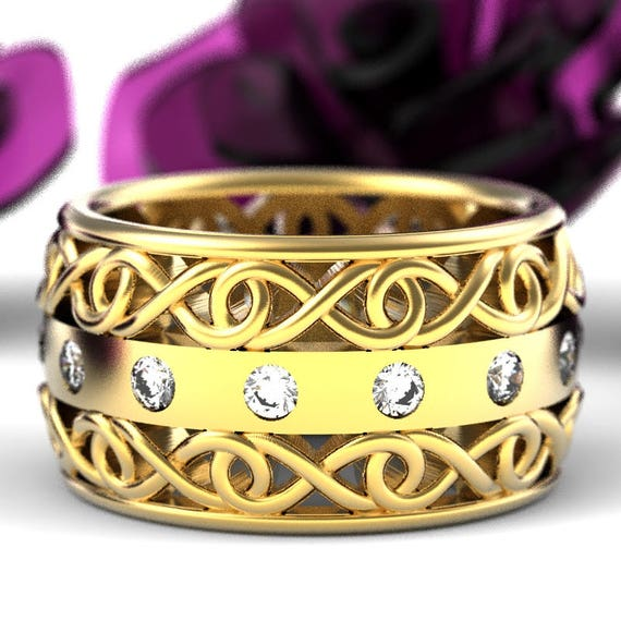 Gold Celtic Wedding Ring With Moissanite and Cut-Through Infinity Symbol Design in 10K 14K 18K or Palladium, Made in Your Size Cr-510