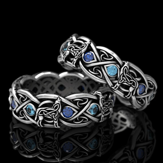 RESERVED FOR Monroe 3 Payments for Set of 2 Sterling Silver Celtic Wolf Rings with Sapphire and Spinel, Made in Your Size 1267