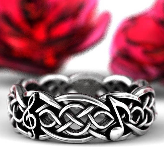 RESERVED FOR Connie Custom Size 3 Black Spinel and Black Sapphire Musical Celtic Infinity Ring, Sterling Silver Eternity Ring, CR-1044 1207