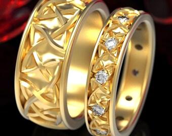 His Her Gold Moissanite Endless Dara Knotwork Celtic Wedding Ring Set, Celtic Knot Wedding Ring Set 10K 18K Platinum Dara Knot Ring 35+1352