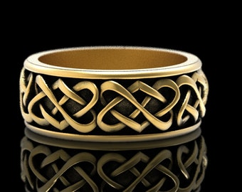 Gold Celtic Wedding Ring, Mans Wedding Bands, Gold Heart Wedding Band, Heart Wedding Ring, Celtic Gold Ring, Platinum Wedding Ring, 1265