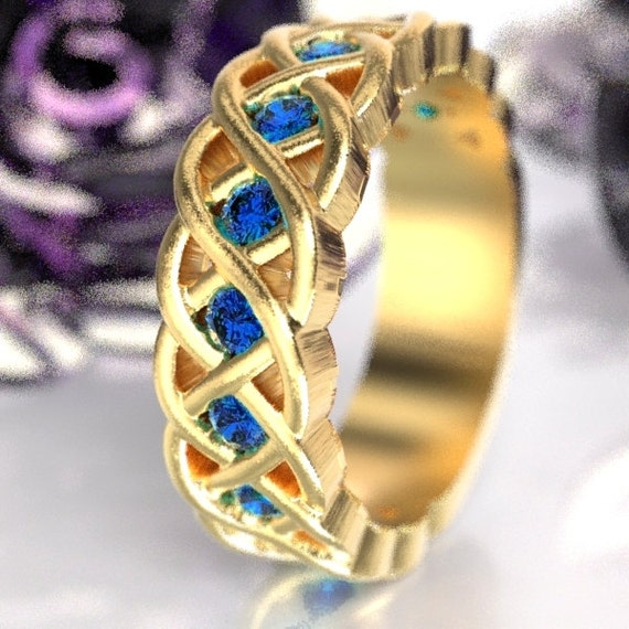 Celtic Wedding Ring with Blue Sapphire Stones in 4 Cord Braided Knot Design in 10K 14K 18K or Palladium, Made in Your Size CR-1008
