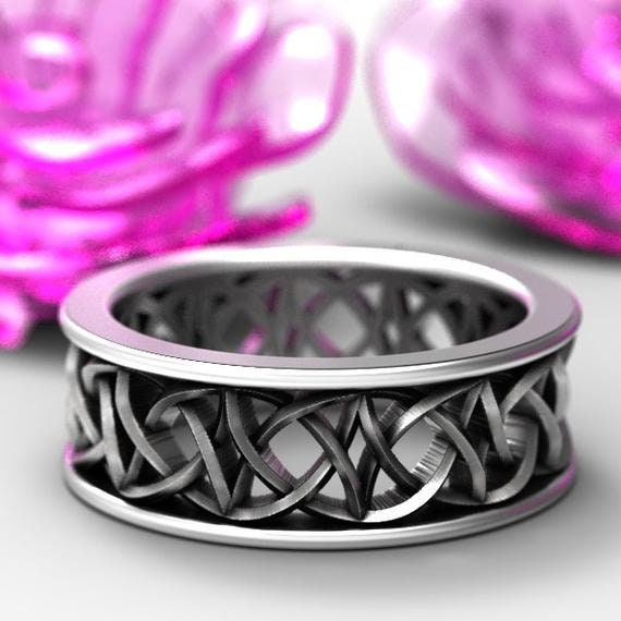 Celtic Love Knot With Braided Cut-through Knotwork Design in Sterling, 10K 14K 18K Gold or Platinum, Made in Your Size Cr-108