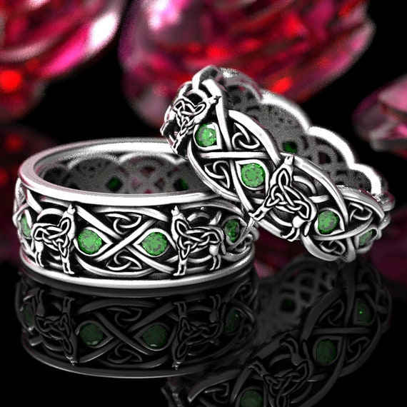 Sterling Silver Celtic Wolf Ring Set with Emeralds, Eternity Band Celtic Wolf Jewelry, Wolf Wedding Band Set, His & Hers Custom Rings 1267