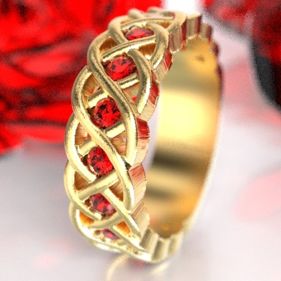 Celtic Wedding Ring with Ruby Stones in 4 Cord Braided Knot Design in 10K 14K 18K or Palladium, Made in Your Size CR-1008