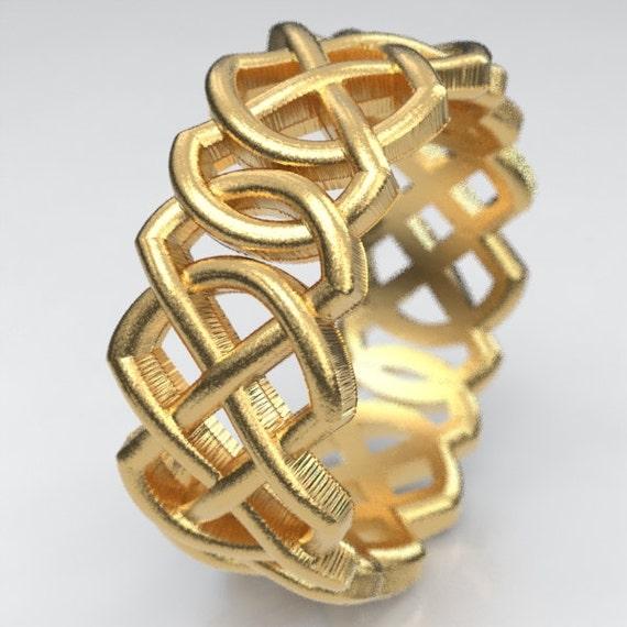 White Gold Celtic Wedding Ring, Double Infinity Ring, Pierced Celtic Knotwork, 10K 14K 18K Gold or Platinum Ring, Custom Wedding Band, 204