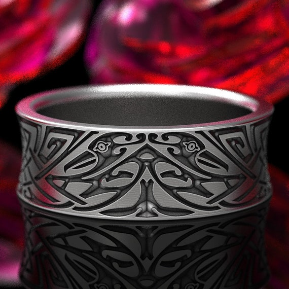 Engraved Norse Wedding Ring With Vivid Design in Sterling Silver, Made in Your Size 1347