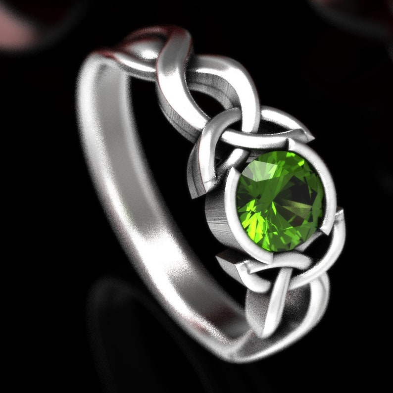 Celtic Peridot Ring With Trinity Knot Design in Sterling image 0