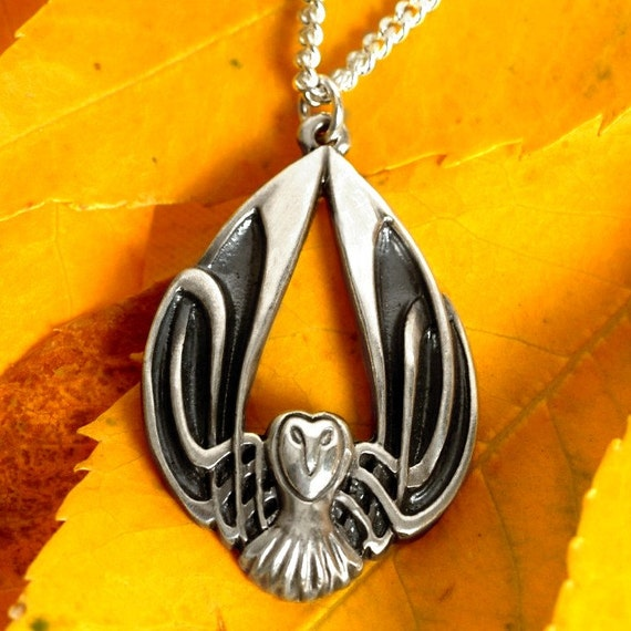 Silver Owl Necklace, Celtic Owl Pendant, Sterling Owl Jewelry, Celtic Owl, Barn Owl Wings, Muggle Owl, Art Nouveau Owl, Owl Lover Gift