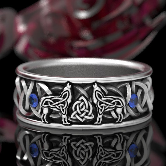 RESERVED FOR Alexica Sterling Silver Celtic Wolf Ring with Sapphires, Wolf Wedding Band, Celtic Animal Ring, Custom Ring Design 1170
