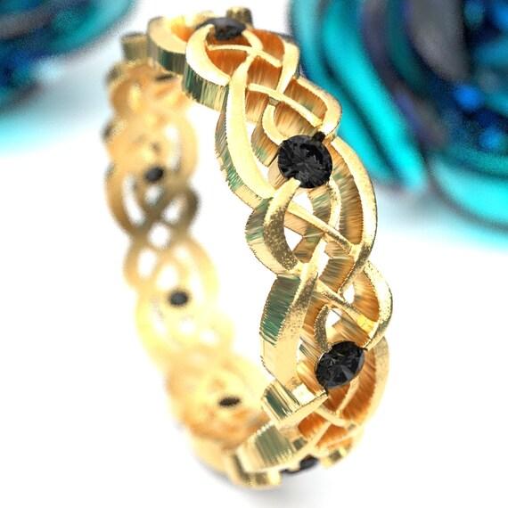 Black Diamond Gold Celtic Wedding Ring, Infinity Band, Eternity Diamond Ring in 10K 14K 18K Palladium or Platinum, Custom Size 1044