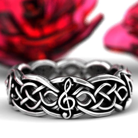 Musical Celtic Wedding Ring Infinity Symbol Pattern in Sterling Silver, Music Notes Ring, Musical Wedding Ring, Made in Your Size 1207
