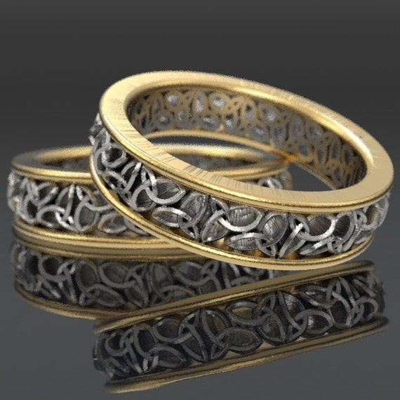 Celtic 2-Tone Gold Wedding Ring Set With Cut-Through Trinity Knot Design in 10K 14K 18K Gold Palladium or Platinum, Made in Your Size CR-617
