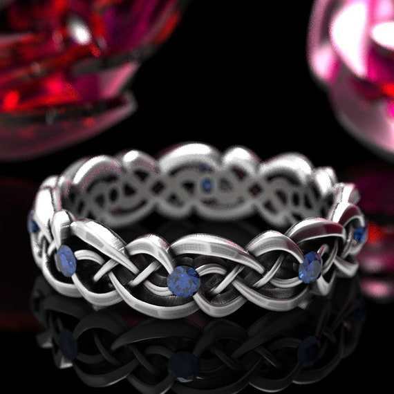 Eternity Celtic Infinity Band with Blue Sapphires in Sterling Silver, 10K 14K 18K Gold or Platinum  Made in your size CR-1044