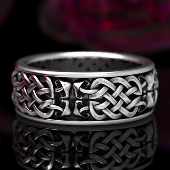 Infinity Symbol Ring with Mushrooms in Sterling Silver, 925 Celtic Eternity Knot Wedding Band, Nature Inspired Handmade Hippie Ring, CR1391