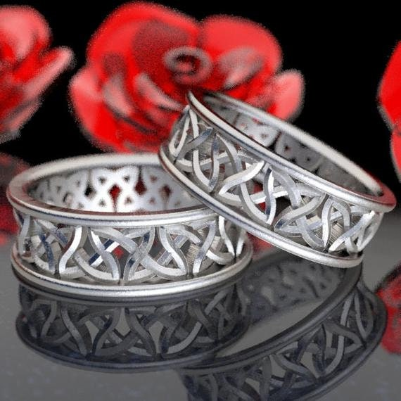 Eternity Wedding Ring Set, Cut-Through Celtic Woven Knotwork in Sterling, 10K 14K 18K Gold, Palladium or Platinum, Made in Your Size CR-37