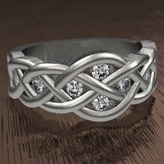Celtic Moissanite Diamond Wedding Ring With Woven Knotwork Design in Sterling Silver Made in Your Size CR-764