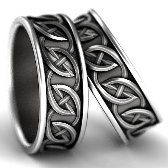 Celtic Wedding Ring Set with Interwoven Tribal Knotwork Design in Sterling Silver, Made in Your Size CR-516