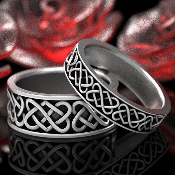 RESERVED FOR Suzanne 2 Ring Set Custom Width Celtic Wedding Ring Set With Heart Knot Design in Sterling Silver, Custom Size 1265