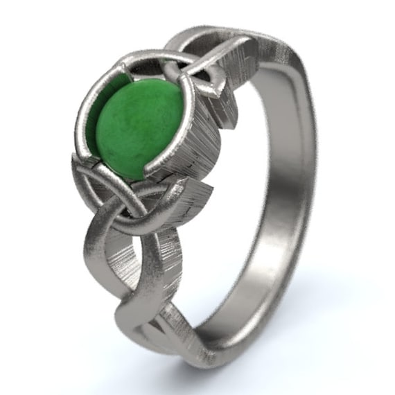 Jade Engagement Ring, Sterling Silver Celtic Knot Ring,  Unique Engagement Ring, Handcrafted in Your Size CR-405b