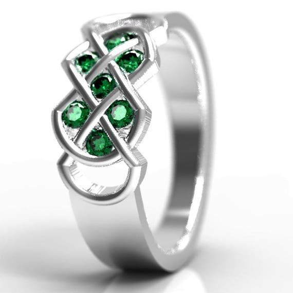 Celtic Emerald Ring With Infinity Knot Design in Sterling Silver, 10K 14K 18K Gold or Platinum  Made in Your Size CR-771