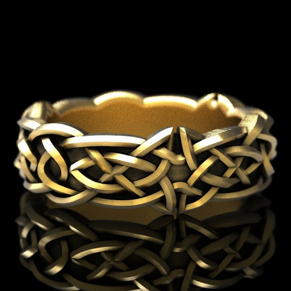 Gold Celtic Wedding Ring With Trinity Knotwork Design in 10K 14K 18K or Platinum, Made in Your Size Cr-1037
