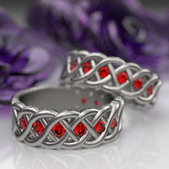 Celtic Wedding Ring Set with Rubies in 4 Cord Braided Knot Design in Sterling,10K 14K 18K or Platinum Made in Your Size CR-1008
