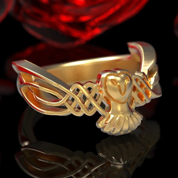 Owl Ring in Celtic Style, Celtic Flying Owl Ring, Gold Owl Wedding Band, Made in 10K 14K or 18K Gold or Platinum with Woven Wings CR-1011