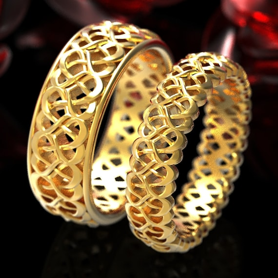 His and Hers Wedding Bands, Heart Knot Celtic Ring Set, Celtic Knot Ring Set, Couples Ring Set in 10K 14K 18K Gold or Platinum 1334 1335