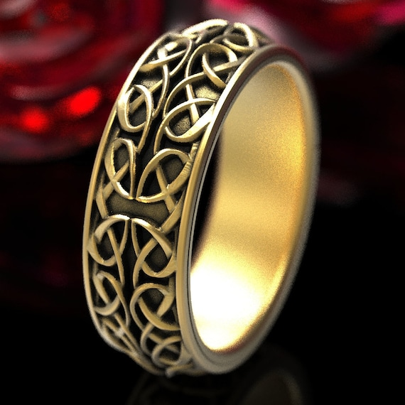 Celtic Wedding Ring With Interwoven Dara Knot Design Made in 10K 14K 18K Gold or Platinum, Made in Your Size cr-628