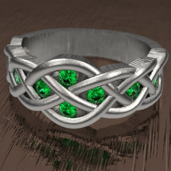 Celtic Emerald Wedding Ring With Woven Knotwork Design in Sterling Silver Made in Your Size CR-764