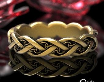 Gold Celtic Wedding Band,  10K 14K 18K Gold Platinum Infinity Ring, Modern Wedding Band, Women's Infinity Wedding Ring, Eternity Ring, 1417