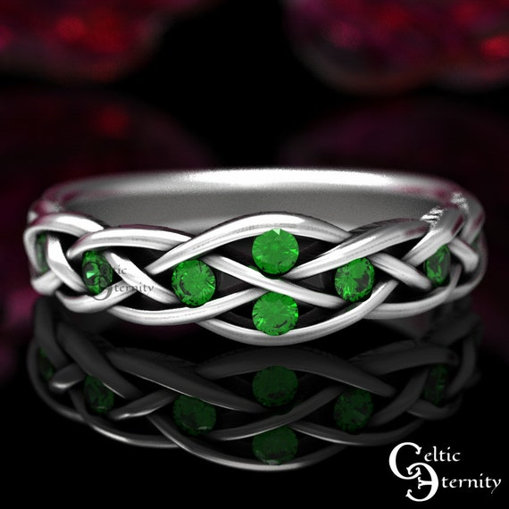 Celtic Emerald Wedding Ring, Sterling Wedding Ring, Emerald Engagement Ring, Womans Wedding Band, Elf Ring, Infinity Wedding Ring, 764