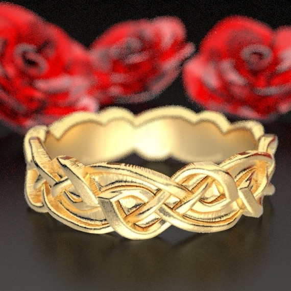 Gold Celtic Wedding Ring With Overlapping Infinity Symbol Pattern in 10K 14K 18K or Palladium, Made in Your Size Cr-1045