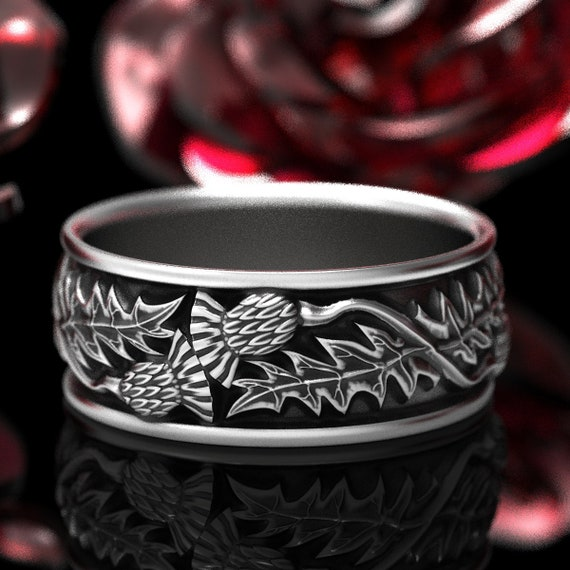 Silver Thistle Ring, Silver Scottish Wedding Ring, Thistle Flower Wedding Band, Outlander Ring, Mens Handcrafted Rings, Custom Size 1316