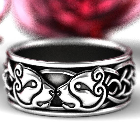 Sterling Silver Bear Wedding Band, Celtic Bear Ring, Mens Wedding Band, Celtic Knot Ring 1193