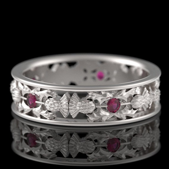 RESERVED FOR Margo, Platinum Thistle Ring With Garnets Scottish Ring, Unique Rings for Her, Botanical Jewelry, Handcrafted Rings, 5056