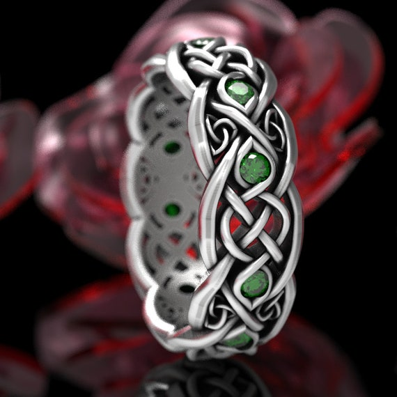 Infinity Emerald Wedding Band, Sterling Celtic Ring, Irish Wedding Ring, Celtic Wedding Band, Celtic Knot Ring with Emeralds CR1052