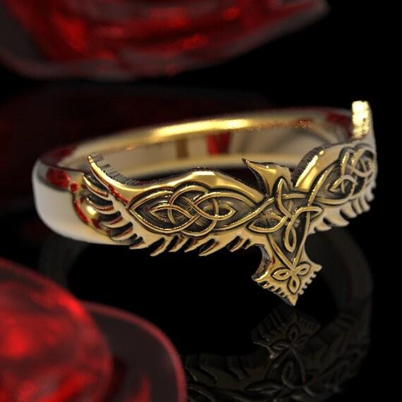 Gold Celtic Raven Ring, Raven Wedding Band, Mens Wedding Band, Raven Jewelry in 10k 14k 18k Gold and Platinum Custom Size 1286